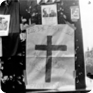 Report about a boy killed by occupation soldiers; placed on the pedestal of the St Wenceslas statue. Jan Palach took a photo of it on 22 August 1968 (Photo: Jan Palach)